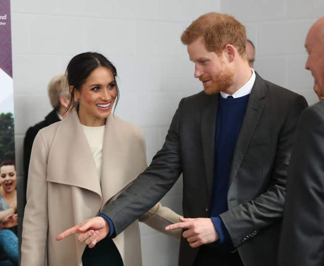 Harry makes his point during his first official visit to Northern Ireland with Meghan (Niall Carson/PA)
