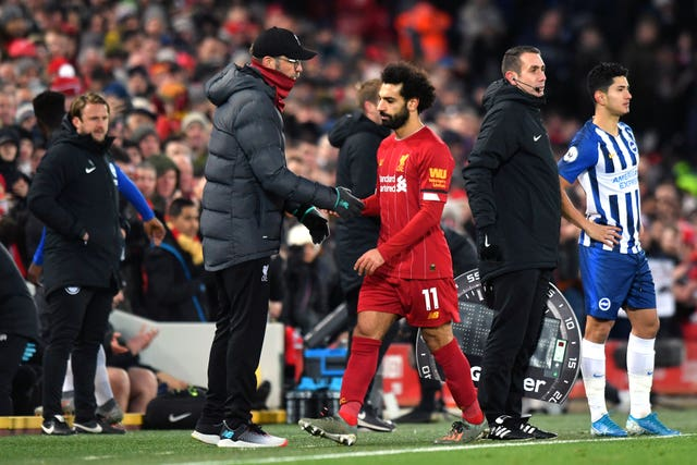 Mohamed Salah was taken off with Liverpool 2-0 up