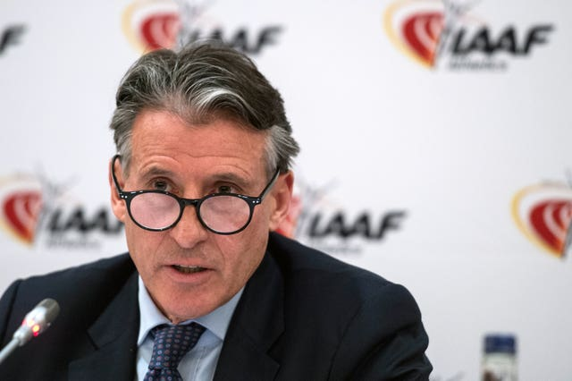 Lord Coe during a London Marathon press conference.