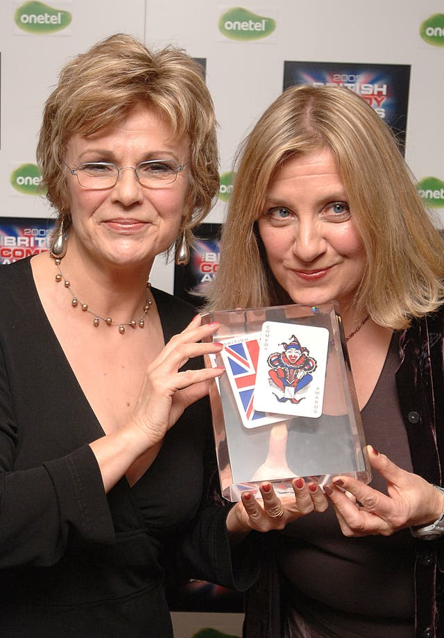 Victoria  Wood (right) and Julie  Walters with the lifetime achievement award they received at the Bristish Comedy Awards 2005.