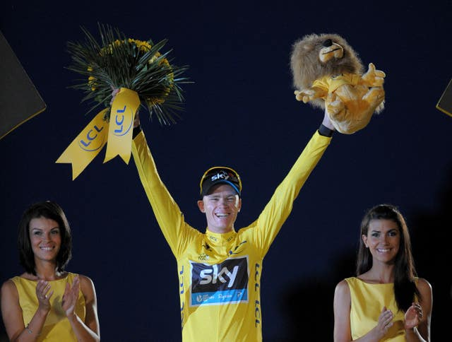 The Team Sky rider celebrates his first Tour victory in 2013