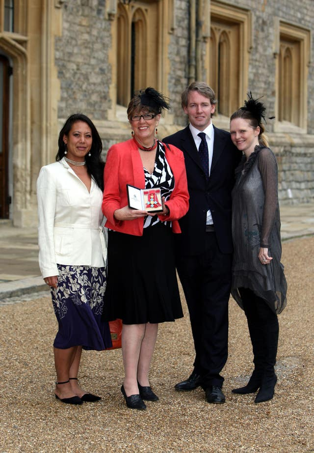 Cook, writer and broadcaster Prue Leith, with daughter Li-Da Kruger (left) and her son Danny Kruger and his wife Emma, after she become a Commander of the British Empire (CBE) from the Princess Royal during the investiture ceremony at Windsor Castle