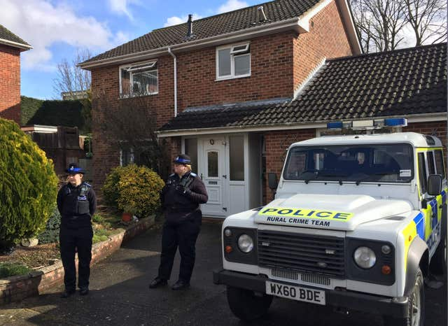 Police outside Sergei Skripal's home in March