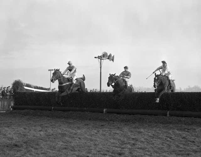 Mandarin (extreme left) was one of the greats of racing, seen here winning the 1957 King George at Kempton