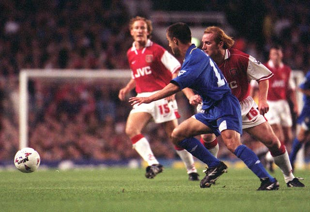 John Hartson (right) and Dennis Wise played in the 3-3 Premier League draw between the sides at Highbury in September 1996.