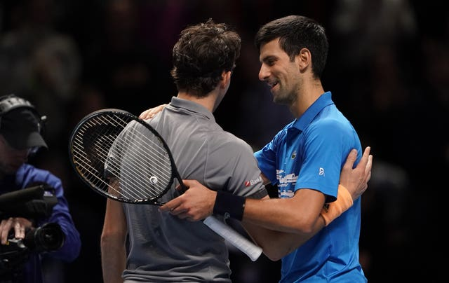 Novak Djokovic congratulates Dominic Thiem on his victory