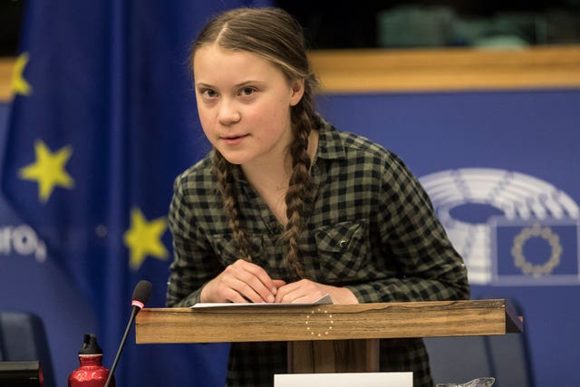 Young Swedish environmental activist Greta Thunberg speaks during a special meeting of the Environment Committee at the European Parliament