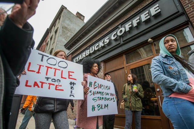 Protests took place outside the Philadelphia shop over the weekend (AP)