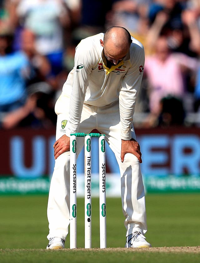Nathan Lyon was denied late glory as his lbw appeal against Stokes was turned down