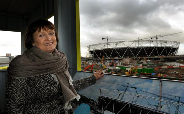 Olympics Minister Tessa Jowell stands in front of the Olympic Park in Stratford, London (Anthony Devlin/PA)