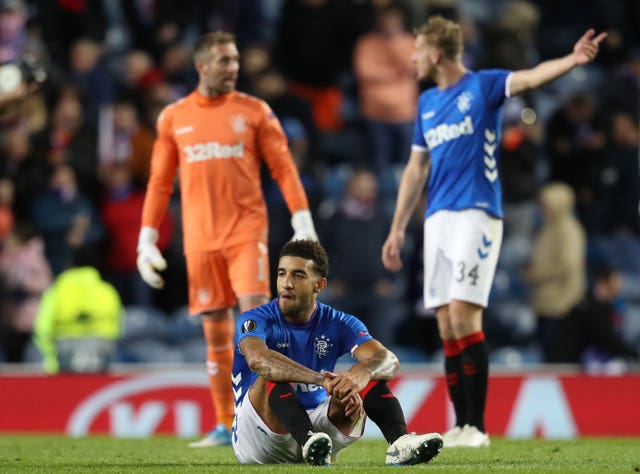 The Rangers players were left frustrated at the final whistle after missing out on the win