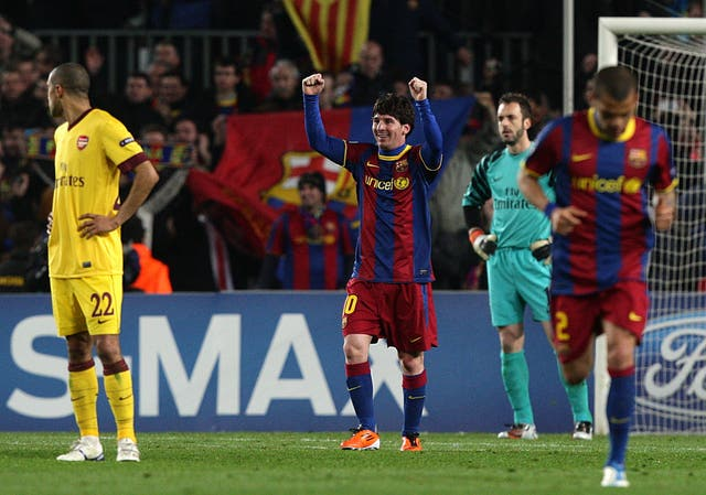 Messi celebrates completing the scoring from the penalty spot (Dave Thompson/PA)