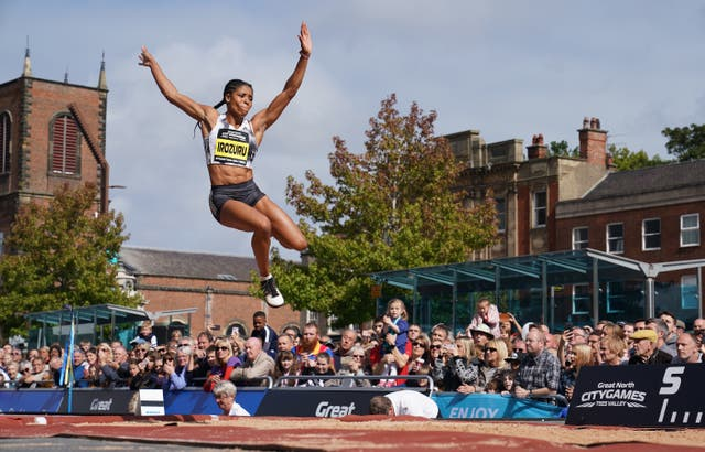 Great Britain's Abigail Irozuru competes in the long jump during the Great City Games in Stockton
