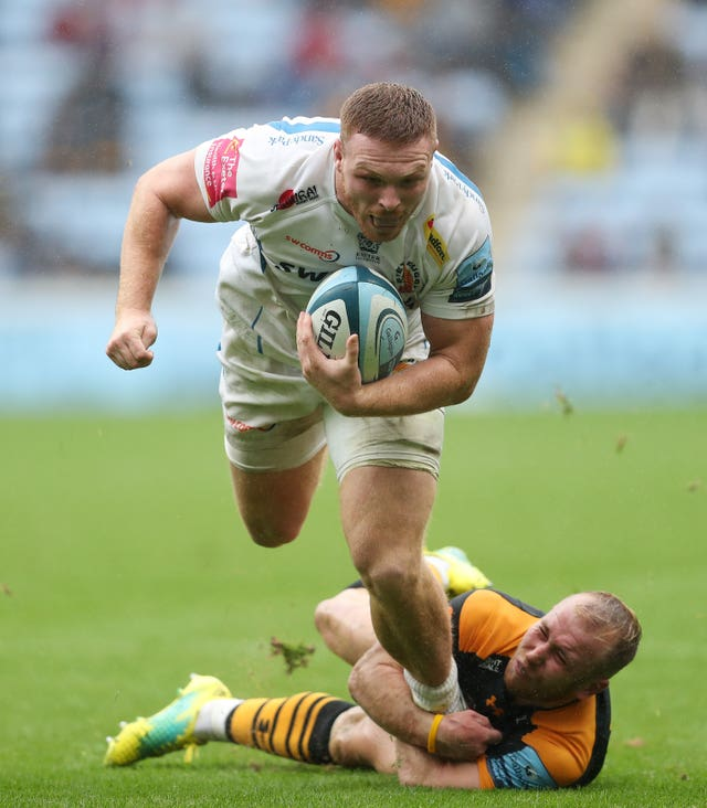 Exeter's Sam Simmonds is tackled by Wasps' Dan Robson
