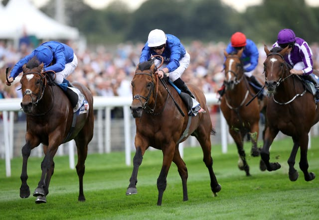 Old Persian (white hat) wins the Great Voltigeur Stakes at York