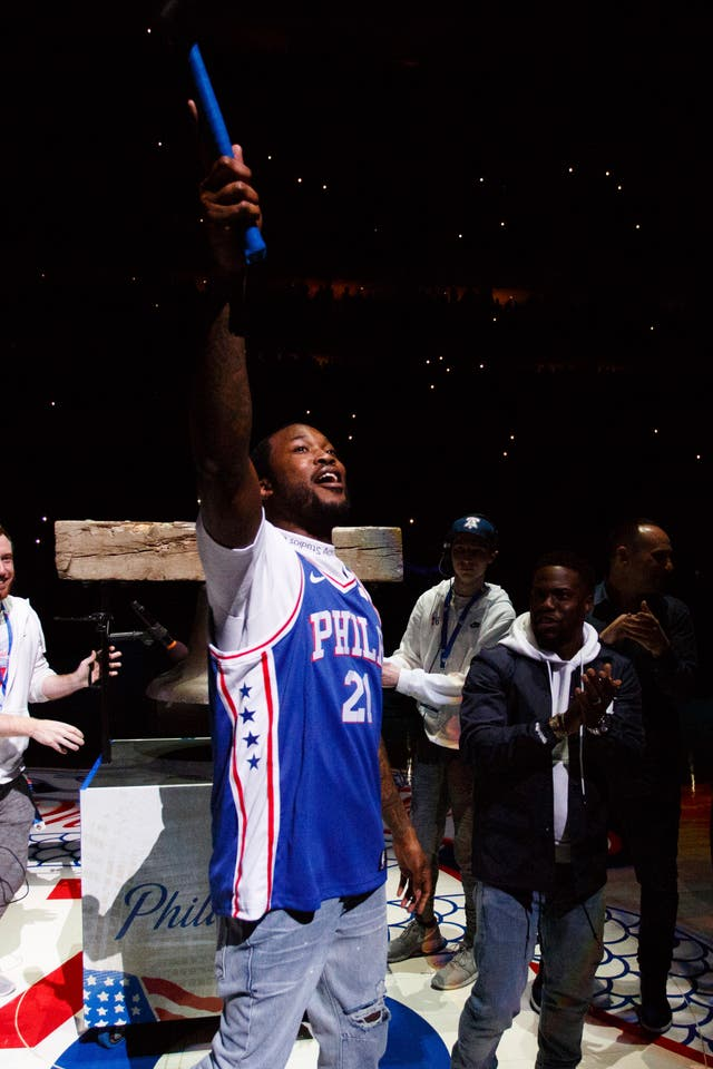 Rapper Meek Mill at the NBA basketball playoff game in Philadelphia.