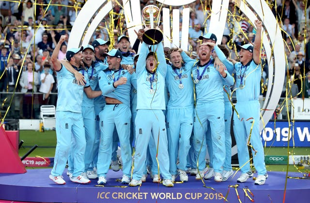 England celebrate winning the ICC World Cup