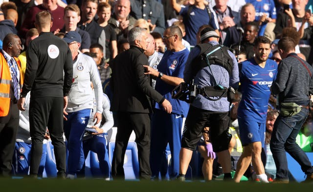 Mourinho reacts after Chelsea coach Marco Ianni appears to goad him following a late equaliser when the two clubs met in October 2018