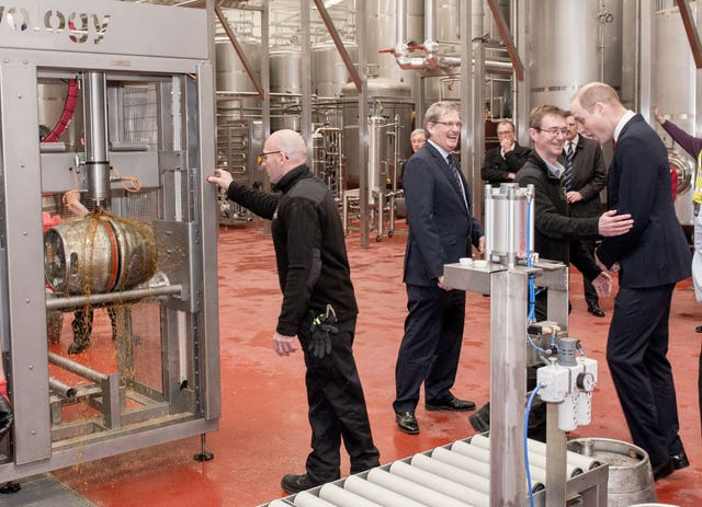 The Duke of Cambridge visits brewery