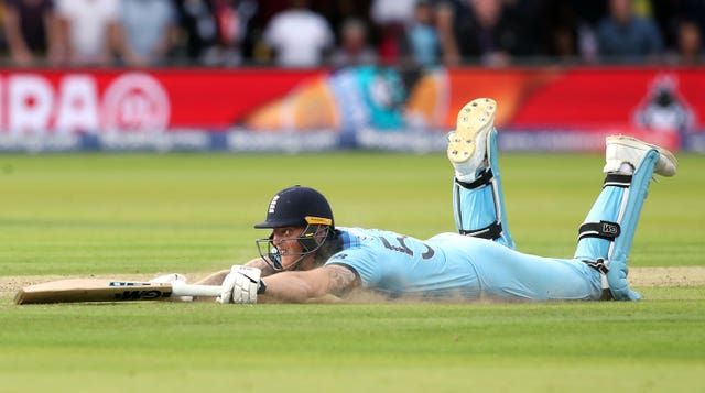 Ben Stokes reacts after the ball hits his bat