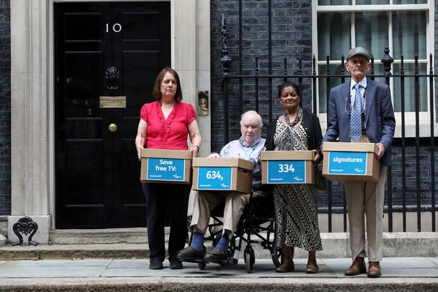 Pensioners Sue, David, Radha and Tony outside 10 Downing Street