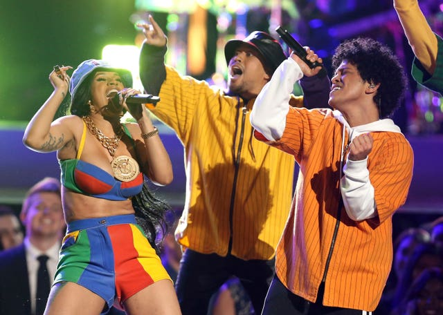 "Bruno Mars and Cardi B perform ""Finesse"" at the 60th annual Grammy Awards (Matt Sayles/Invision/AP)"