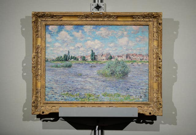 Claude Monet's La Seine a Lavacourt was one of the lots (Julie Jacobson/AP)