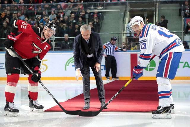 Jose Mourinho was making the first puck drop at Monday's Kontinental Hockey League game between Avangard and SKA (Dmitry Golubovich/AP).