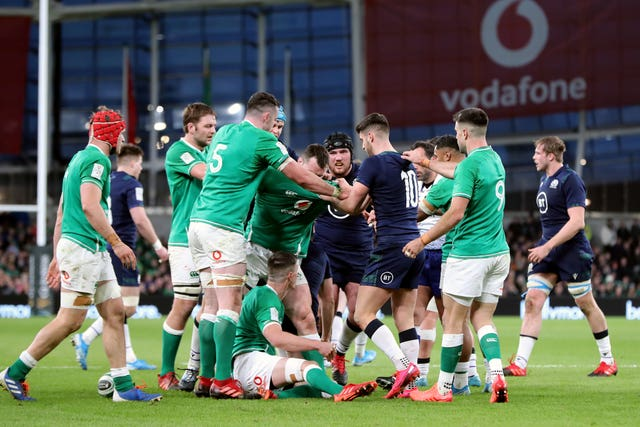 Tempers flared as coach Andy Farrell started his Ireland reign with a 19-12 win over Scotland in Dublin
