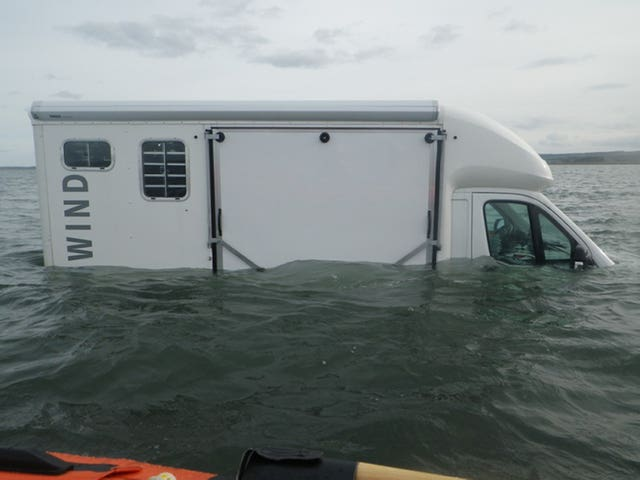 The horsebox partially submerged on Holy Island causeway