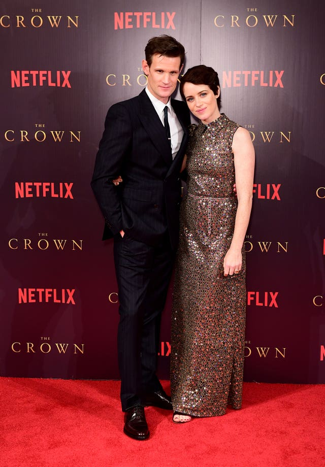Foy with The Crown co-star Matt Smith