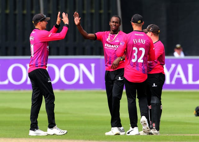 Sussex bowler Jofra Archer, second left, is a contender for a World Cup place with England