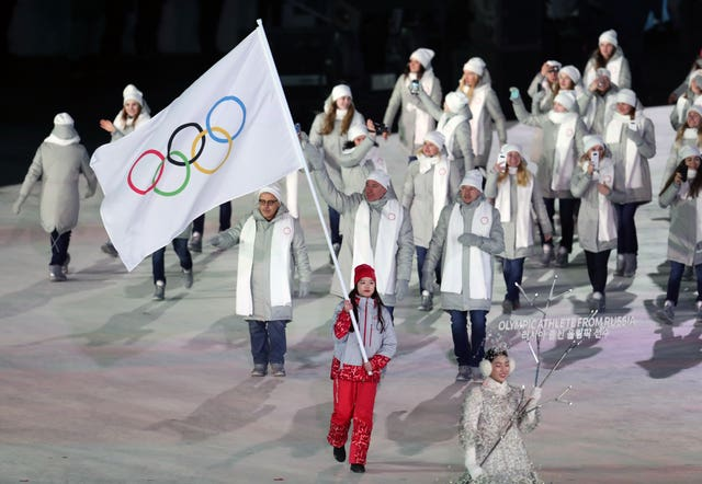 The Olympic Athletes from Russia during the opening ceremony