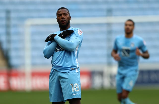Coventry's Duckens Nazon celebrates opening the scoring against Boreham Wood