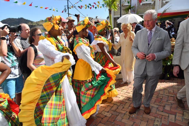 The Prince of Wales and the Duchess of Cornwall during their tour of Grenada (Arthur Edwards/The Sun/PA)
