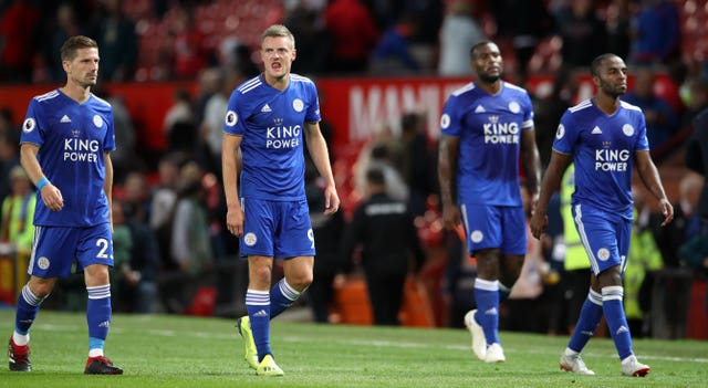 Jamie Vardy, second left, scored at Old Trafford