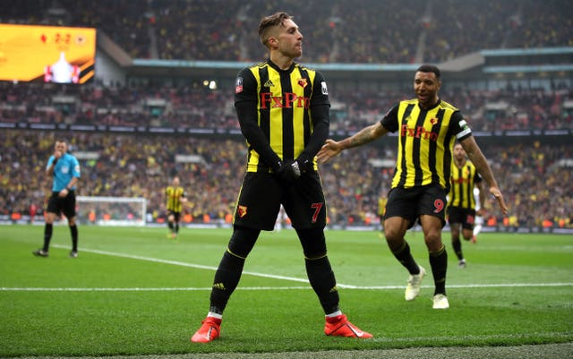 Watford's Gerard Deulofeu celebrates his extra-time winner against Wolves