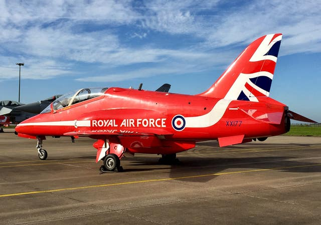 A Red Arrows Hawk TMk1 XX177 at RAF Scampton (Alex Britton/PA)