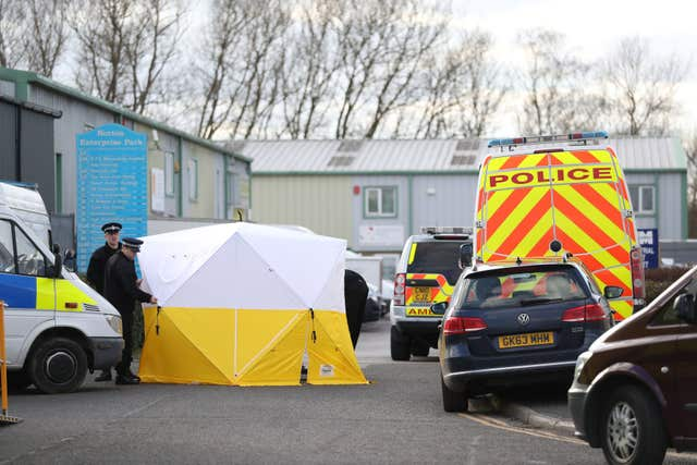 Emergency personnel at the Ashley Wood Recovery Centre in Salisbury as the investigation into the suspected nerve agent attack on Russian double agent Sergei Skripal continues (Andrew Matthews/PA)
