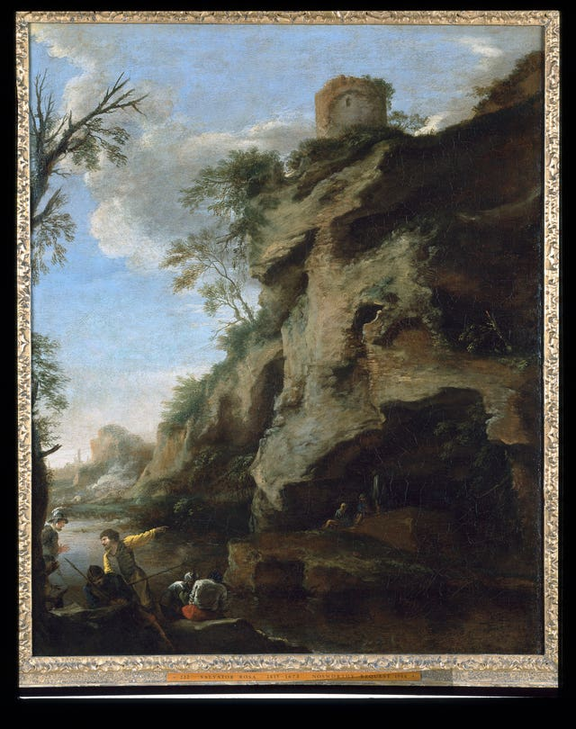 A Rocky Coast, with Soldiers Studying a Plan, c1640s, by Salvator Rosa