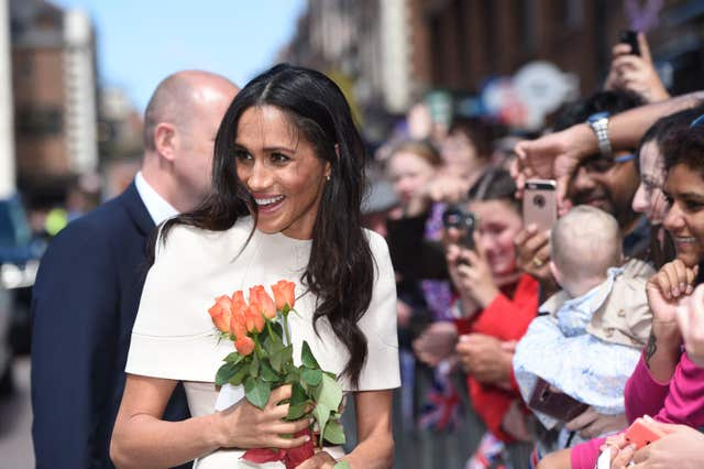 The Duchess of Sussex during her walk about (Eddie Mulholland/Daily Telegraph/PA)