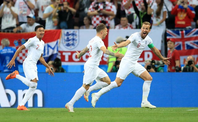 Kieran Trippier (centre) celebrates scoring his side's first goal in the World Cup semi-final against Croatia.