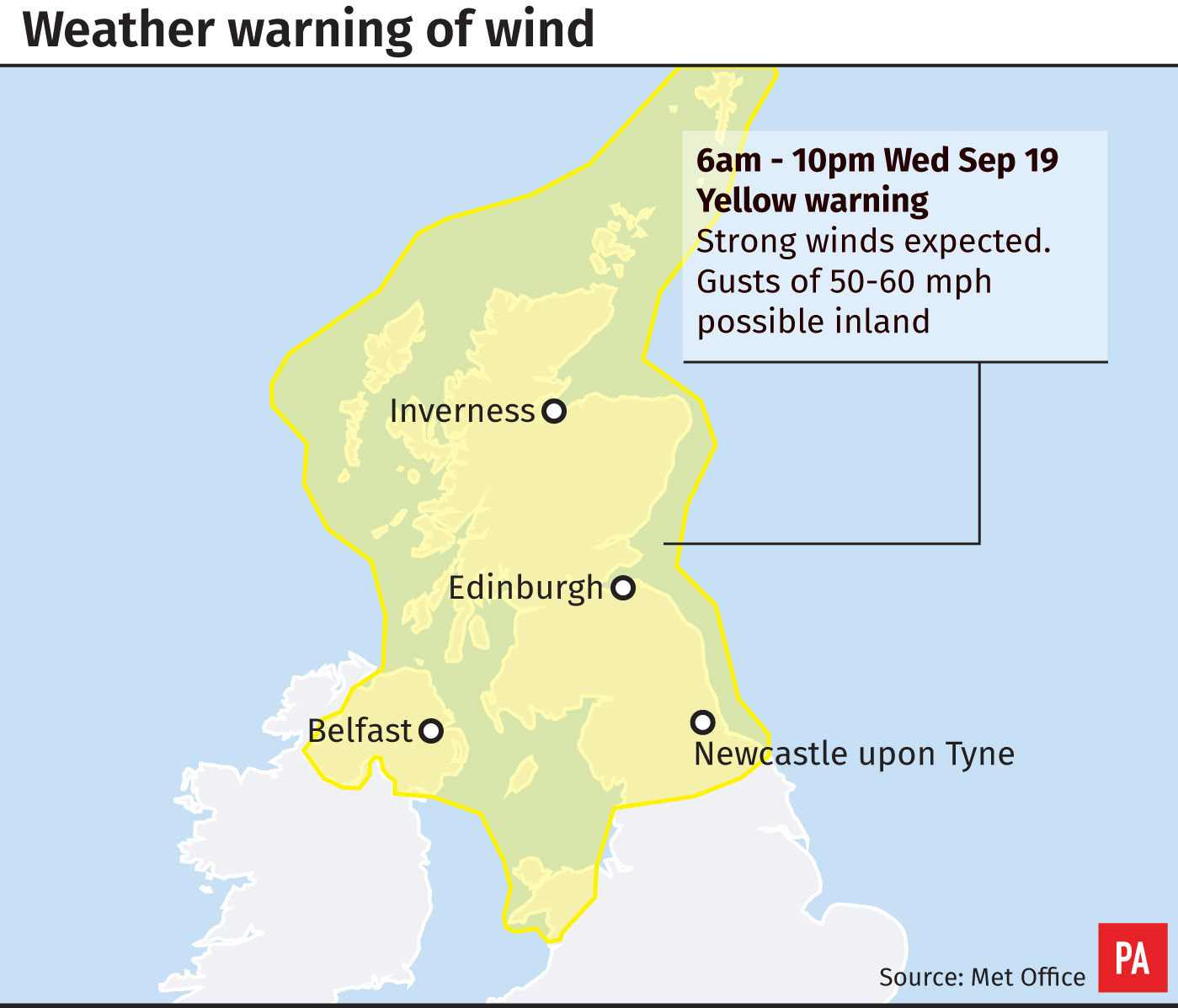 Yellow Weather Warning In Place For Northern Ireland