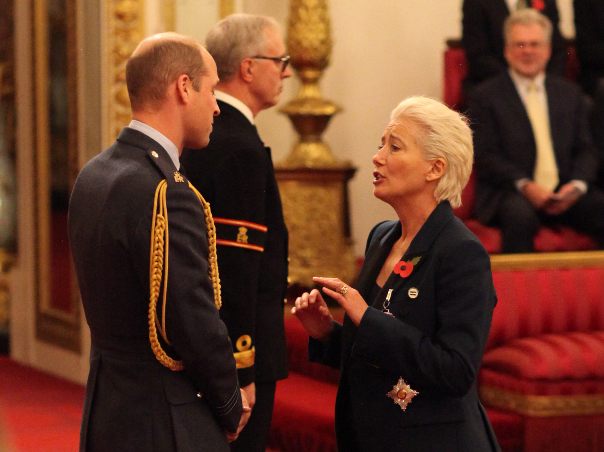 Emma Thompson makes Prince William blush as she receives Damehood