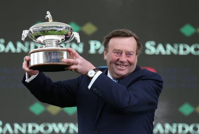 Nicky Henderson with the champion trainer trophy at Sandown