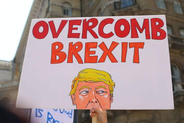 Sign reading Overcomb Brexit during Trump protest march in London