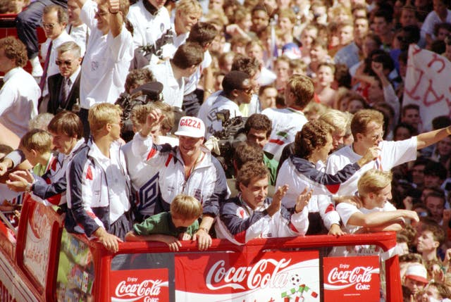 England received an enthusiastic welcome on their return from Italia 90