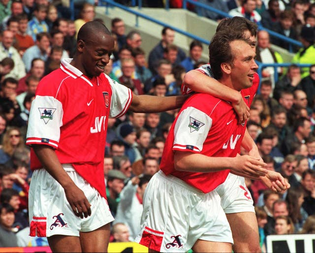 David Platt (right) scored as Arsene Wenger's first meeting with Chelsea ended in a 3-0 win for the Gunners in April 1997.