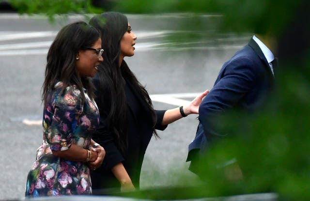 Kim Kardashian was pictured leaving the White House on Wednesday following a meeting with Donald Trump (AP Photo/Susan Walsh)