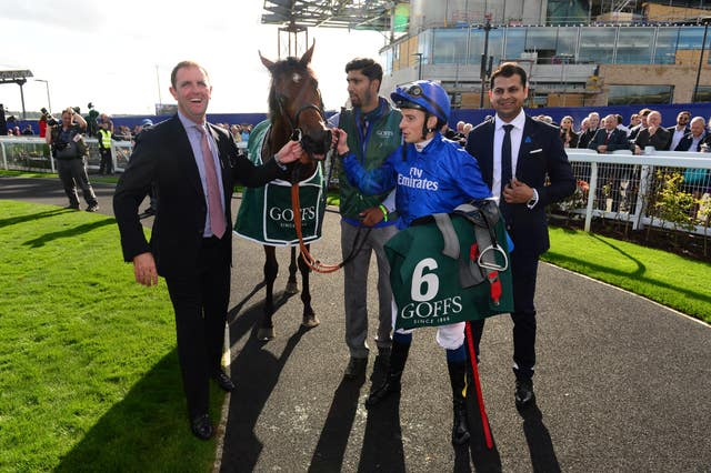 Charlie Appleby and William Buick with Quorto after the National Stakes